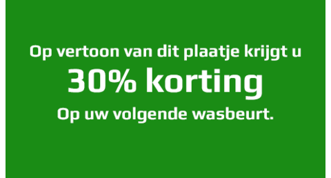 30% korting op wasbeurt!
